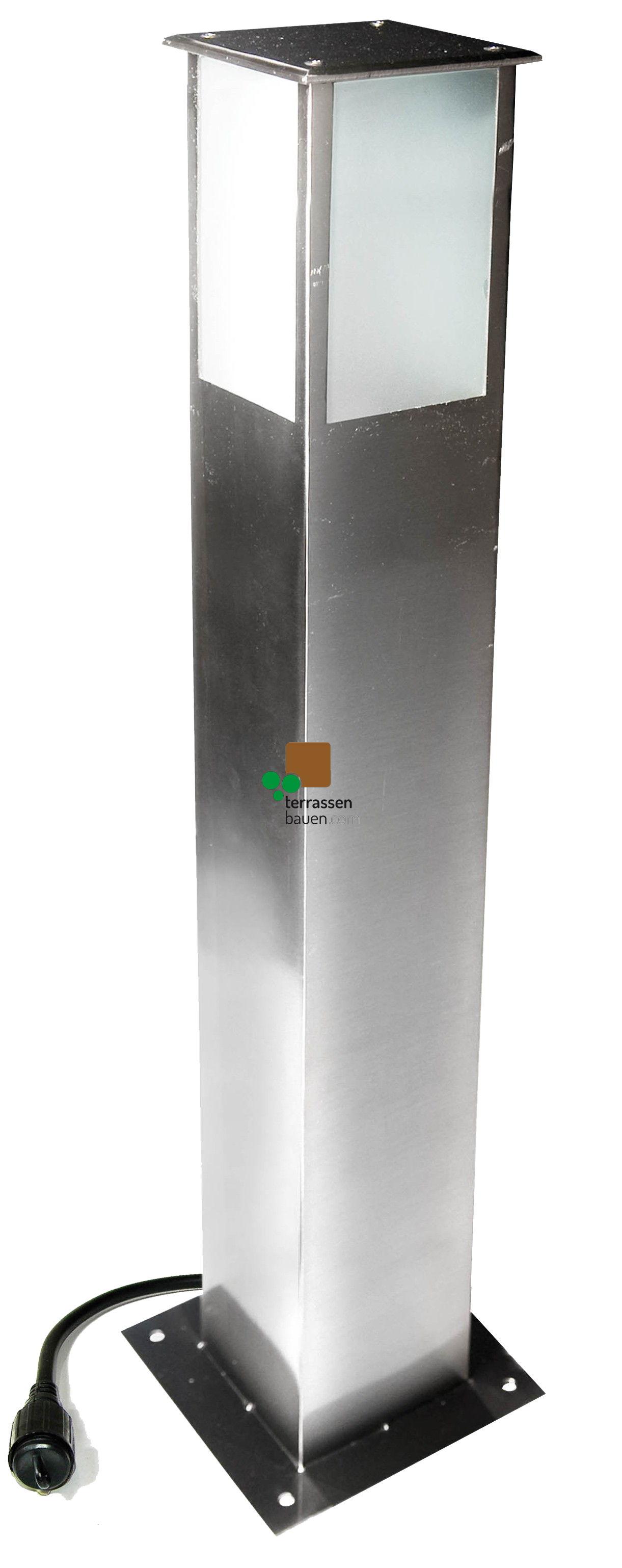 """EasyConnect Edelstahl Standleuchte """"Square"""", 10x10cm, 70cm hoch, 5W, 230VAC, 1 Stück"""
