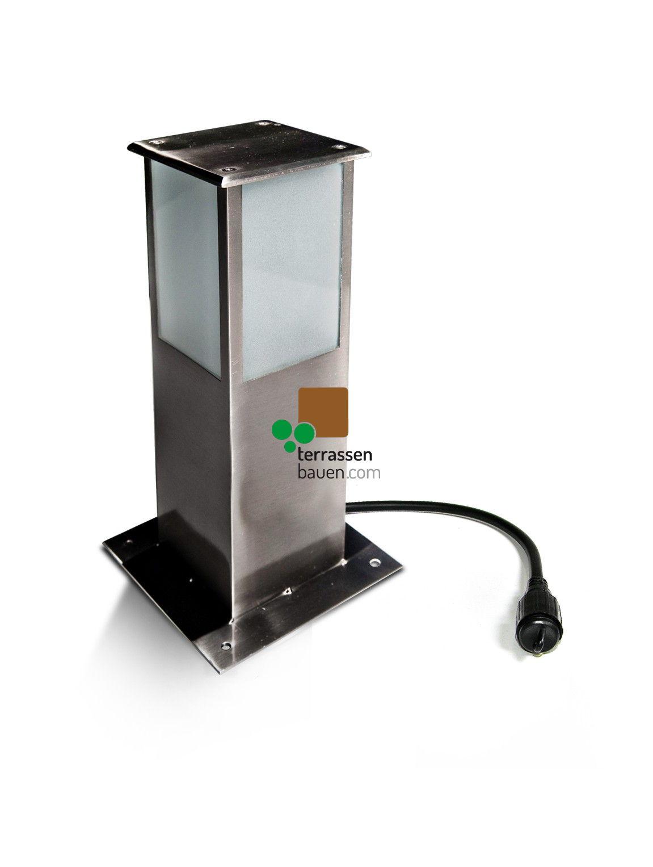 """EasyConnect Edelstahl Standleuchte """"Square"""", 10x10cm, 30cm hoch, 5W, 230VAC, 1 Stück"""