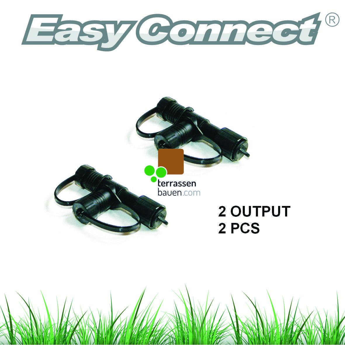 """EasyConnect Anschlussstecker Verteiler """"T"""" 1* Eingang 2* Ausgang, 2 Stück"""